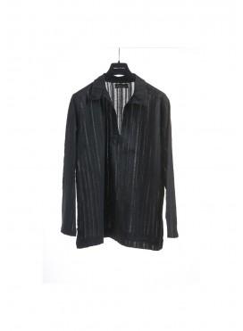 Μπλούζα Γιακά με Αραιή/Πυκνή Ύφανση Γάζα Μακρύ Μανίκι 100% βαμβακερό