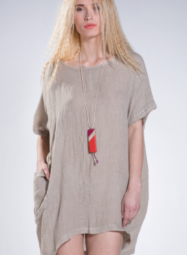 Blouse Tetragoni Pockets Long 100% linen gauze