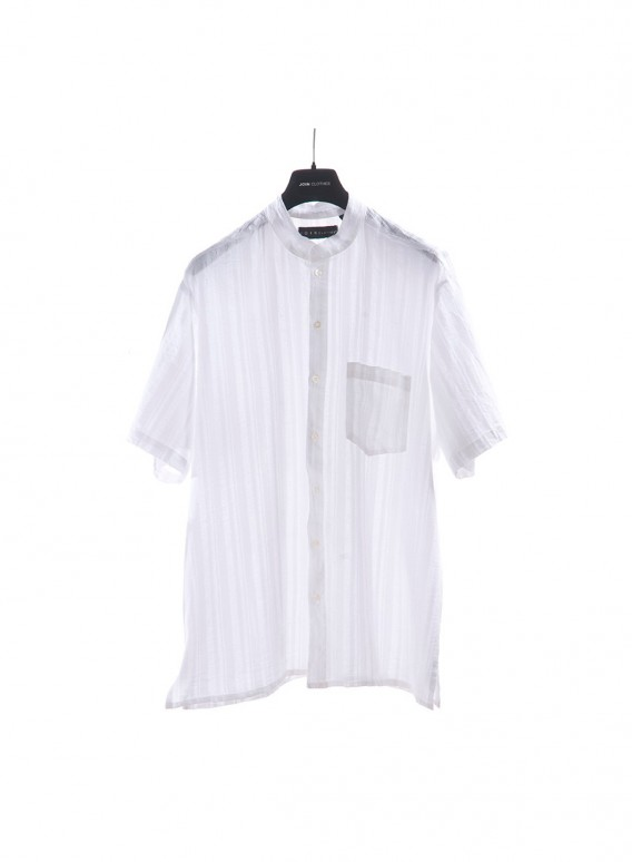 Shirt Mao Collar Thin/thick Texture Short Sleeve Gauze 100% Cotton