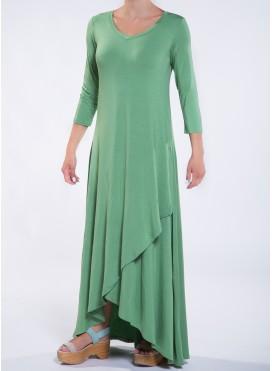 Φόρεμα Croise hem 3/4 μανίκι maxi ελαστικό