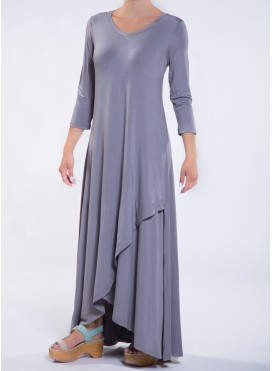 Dress Croise Hem 3/4 sleeve maxi elastic