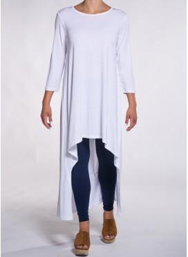 Μπλούζα high low 3/4 μανίκια ελαστική