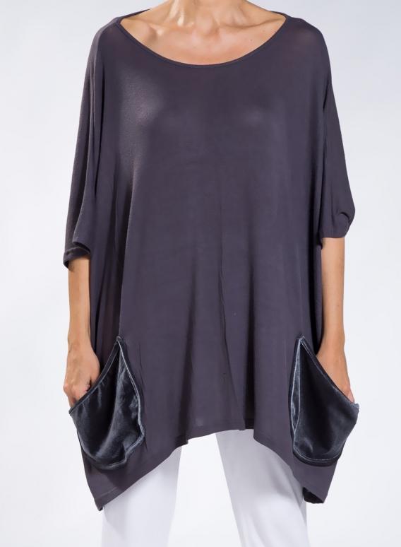 Μπλουζα Τετραγωνη Pockets Velvet/Touli