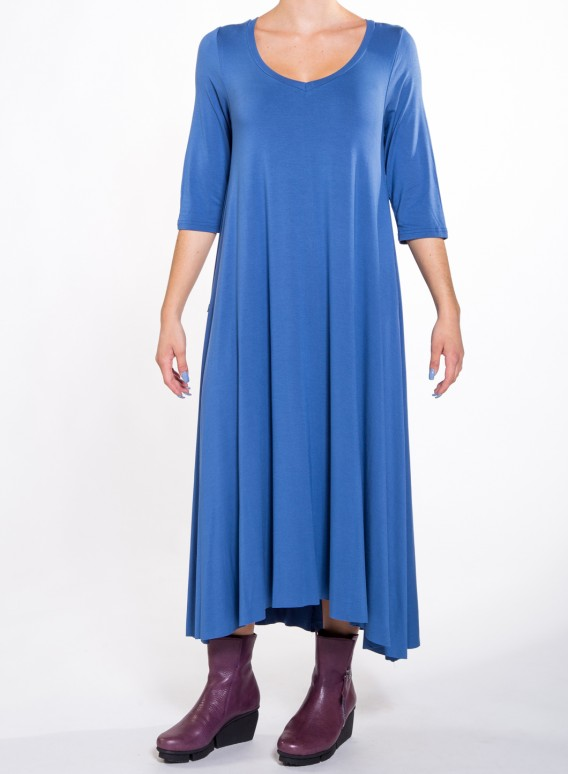 Dress Asymmetric 3/4 Sleeves Maxi elastic