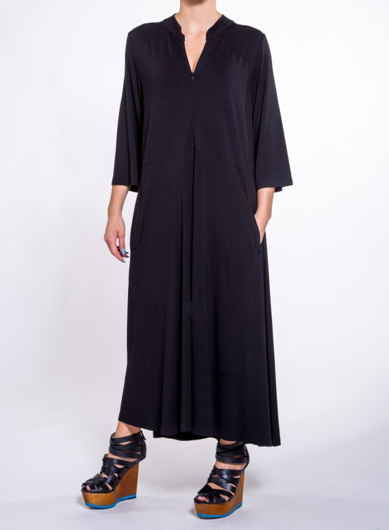 Dress Pat Pockets Zip 3/4 sleeve elastic