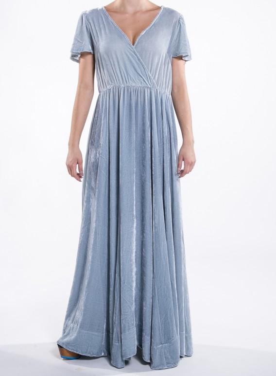 56f45b6d92d5 Φόρεμα Κρουαζέ μεταξωτό βελούδο