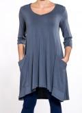 Blouse Asymmetric Big Pockets 3/4 sleeves elastic Sized