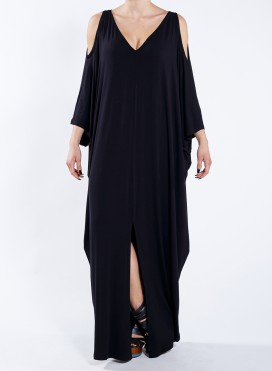 Dress Cold Shoulder V maxi elastic