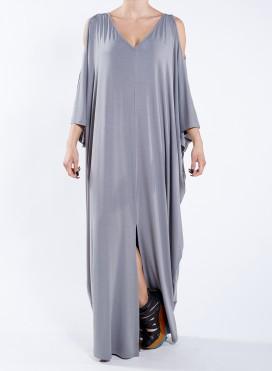 Φόρεμα Cold Shoulder V maxi ελαστικό