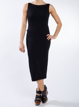 Dress Boatneck sleeveless midi elastic