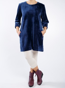 Dress eve pockets long sleeve velour
