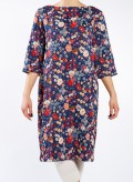 Dress Flower Boat neck midi 3/4 sleeve