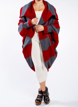 Jacket oval fluffy / stripes