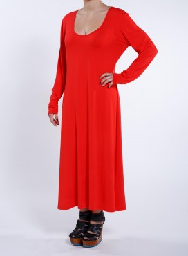 Dress Simple maxi long sleeves elastic