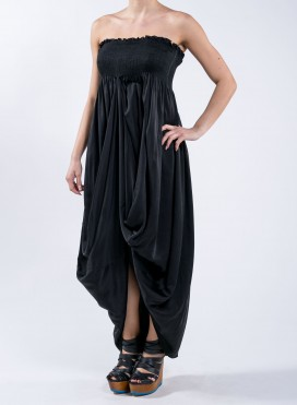 Dress drape strapless silk