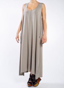 Dress seam sleeveless maxi elastic